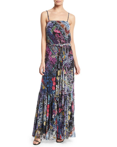 Belted Sleeveless Long Dress
