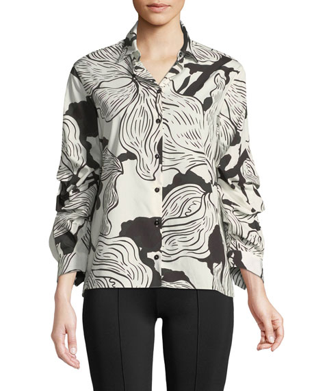 Ruched-Sleeve Printed Button-Front Shirt