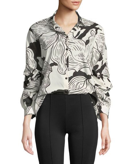 Fuzzi Ruched-Sleeve Printed Button-Front Shirt