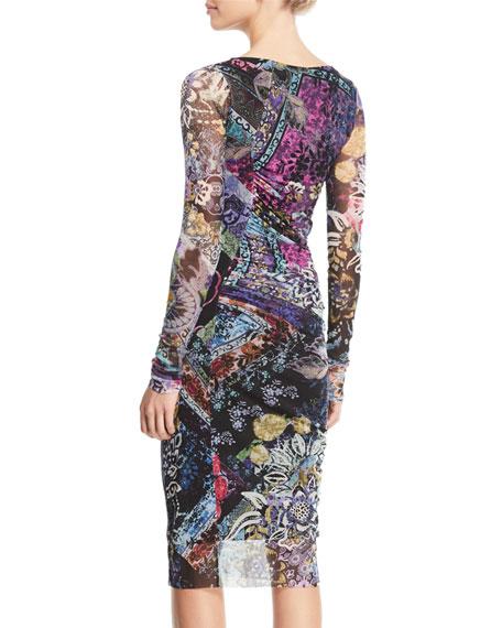 Floral-Print Long-Sleeve Side-Shirred Dress