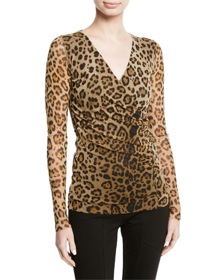Fuzzi Leopard Animal-Print Tulle Faux-Wrap Top