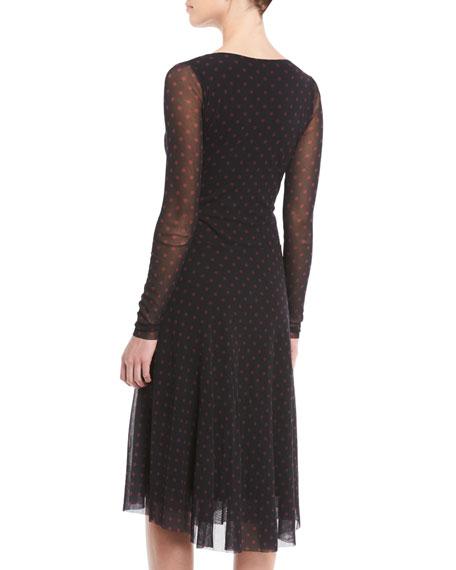 Dot-Print Tulle Long-Sleeve Wrap Dress