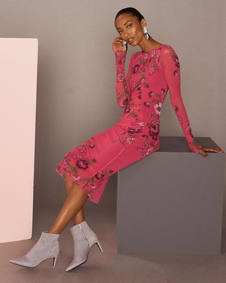 Petunia Long-Sleeve Side-Shirred Sheath Dress