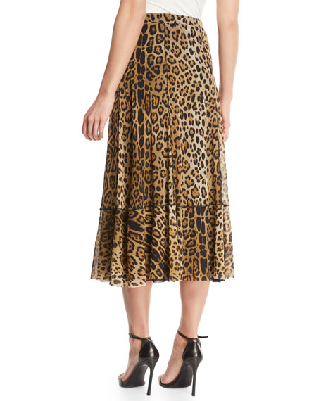 Leopard Animal-Print A-Line Tulle Skirt