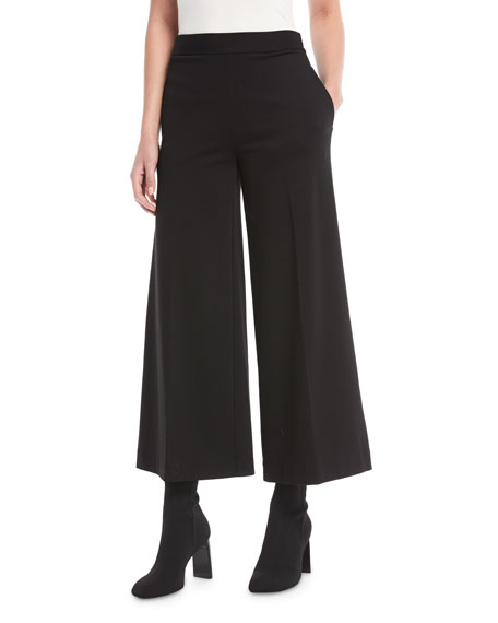 Interlock Solid Cropped Culotte Pants