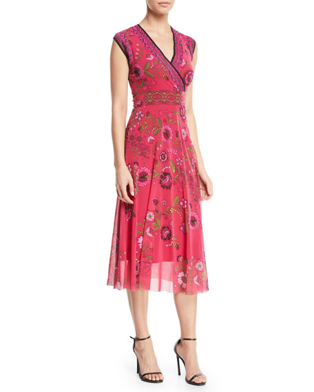 Cap-Sleeve Floral-Print Dress with Reversible Neckline
