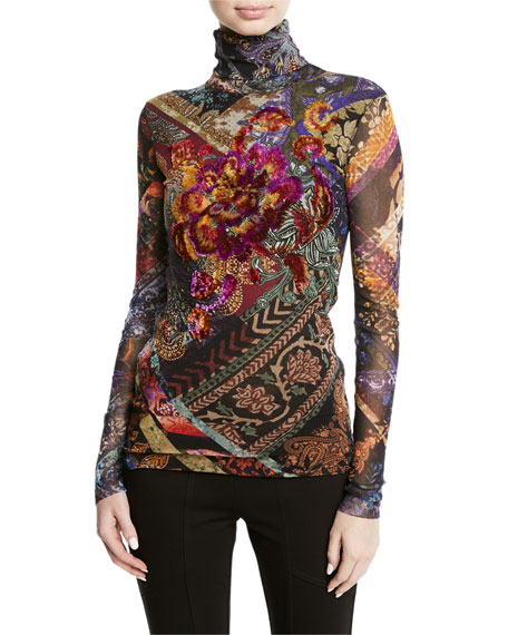 Fuzzi Floral Embroidered Tulle Turtleneck Top
