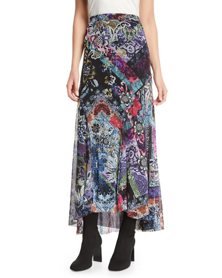 Floral-Print Long Godet Skirt