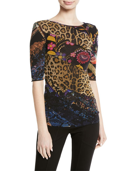 Leopard Patchwork Tulle Half-Sleeve Top