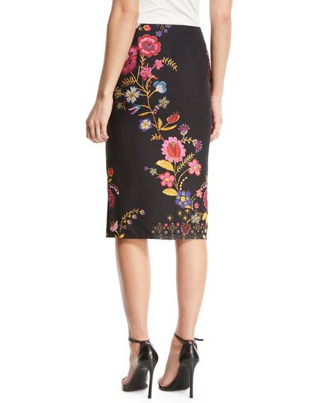 Printed Cady Pencil Skirt
