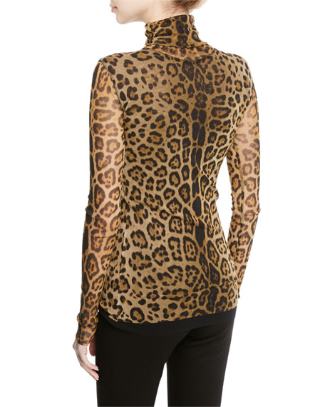Leopard Animal-Print Long-Sleeve Turtleneck Top