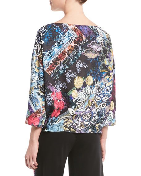 3/4-Sleeve Multi Floral-Print Tulle Drawstring Top