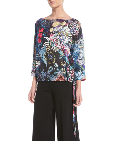 Fuzzi 3/4-Sleeve Floral-Print Top and Matching Items