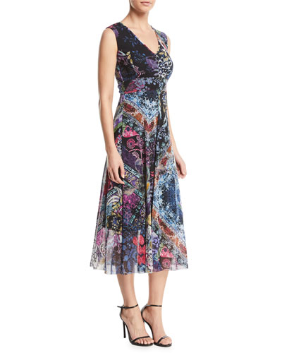 Multi Floral-Print V-Neck Dress