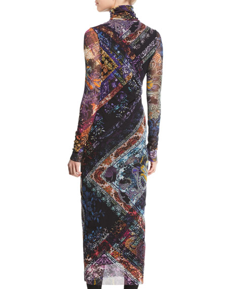 Long-Sleeve Tulle Turtleneck Dress