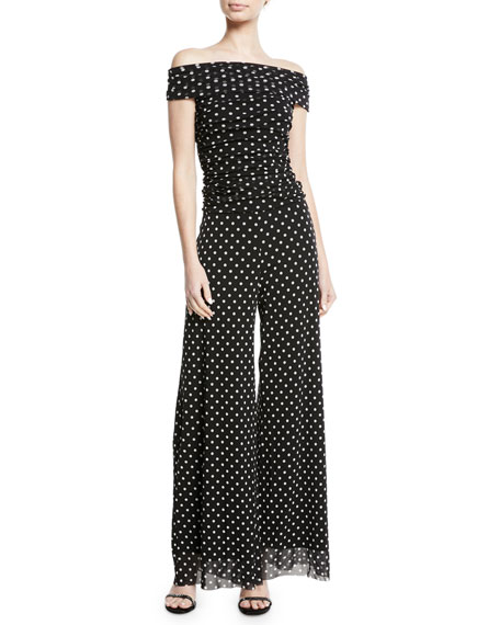 Dotted Tulle Off-the-Shoulder Jumpsuit