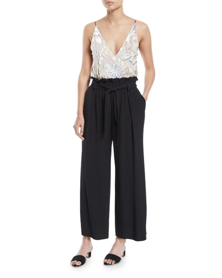 Belted Cropped Wide-Leg Crepe Pants