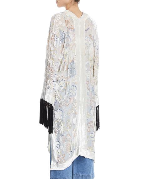 Floral Velvet Devore Fringe Kimono