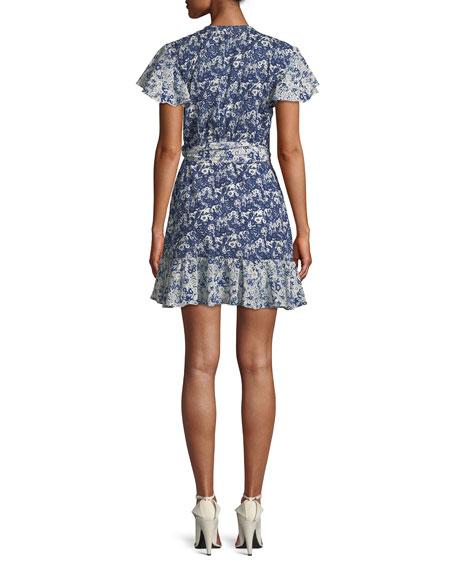 Floral-Print Ruffle Wrap Dress