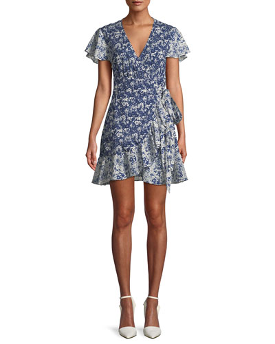 Floral-Print Ruffle Wrap Dress