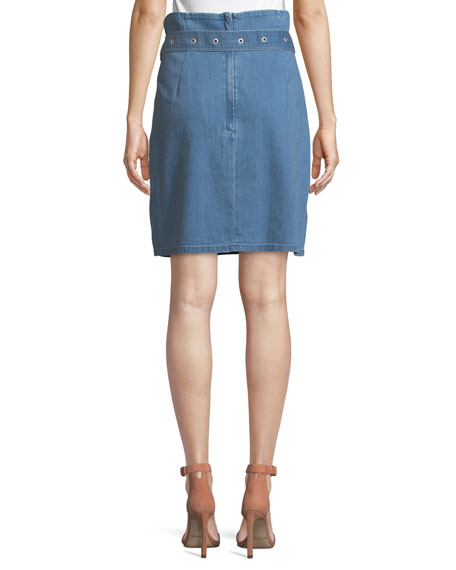 Tranquil Pleated Belted Denim Skirt