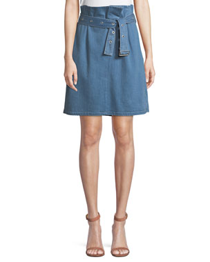 dc11a4f23c J Brand Tranquil Pleated Belted Denim Skirt