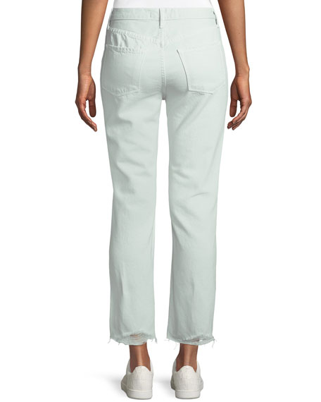 Wynne Cropped Straight-Leg Jeans with Ripped Knee, Spearmint