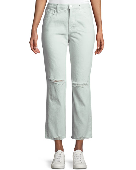 J Brand Wynne Cropped Straight-Leg Jeans with Ripped