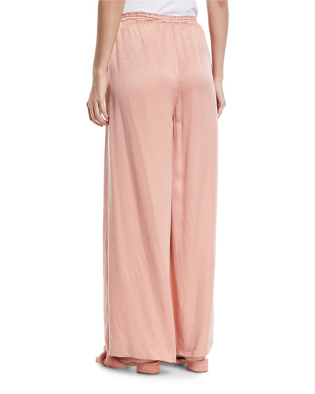 Wide-Leg Satin Lounge Pants