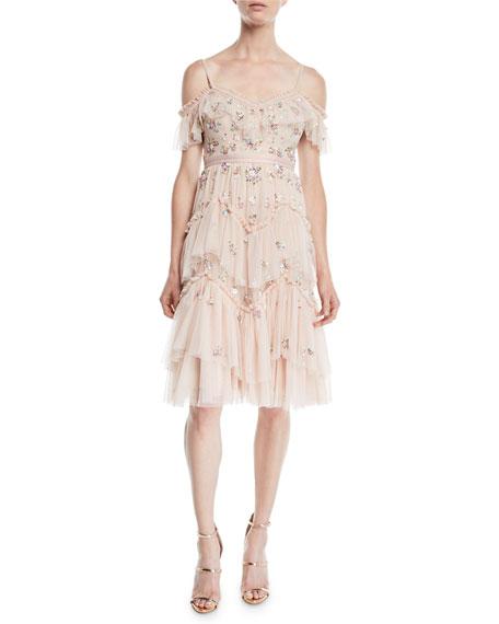 Lustre Embellished Cold-Shoulder Cami Dress