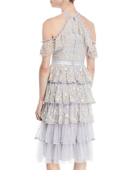Zelda Embroidered Tulle Midi Dress