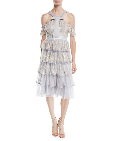 Needle & Thread Zelda Embroidered Tulle Midi Dress