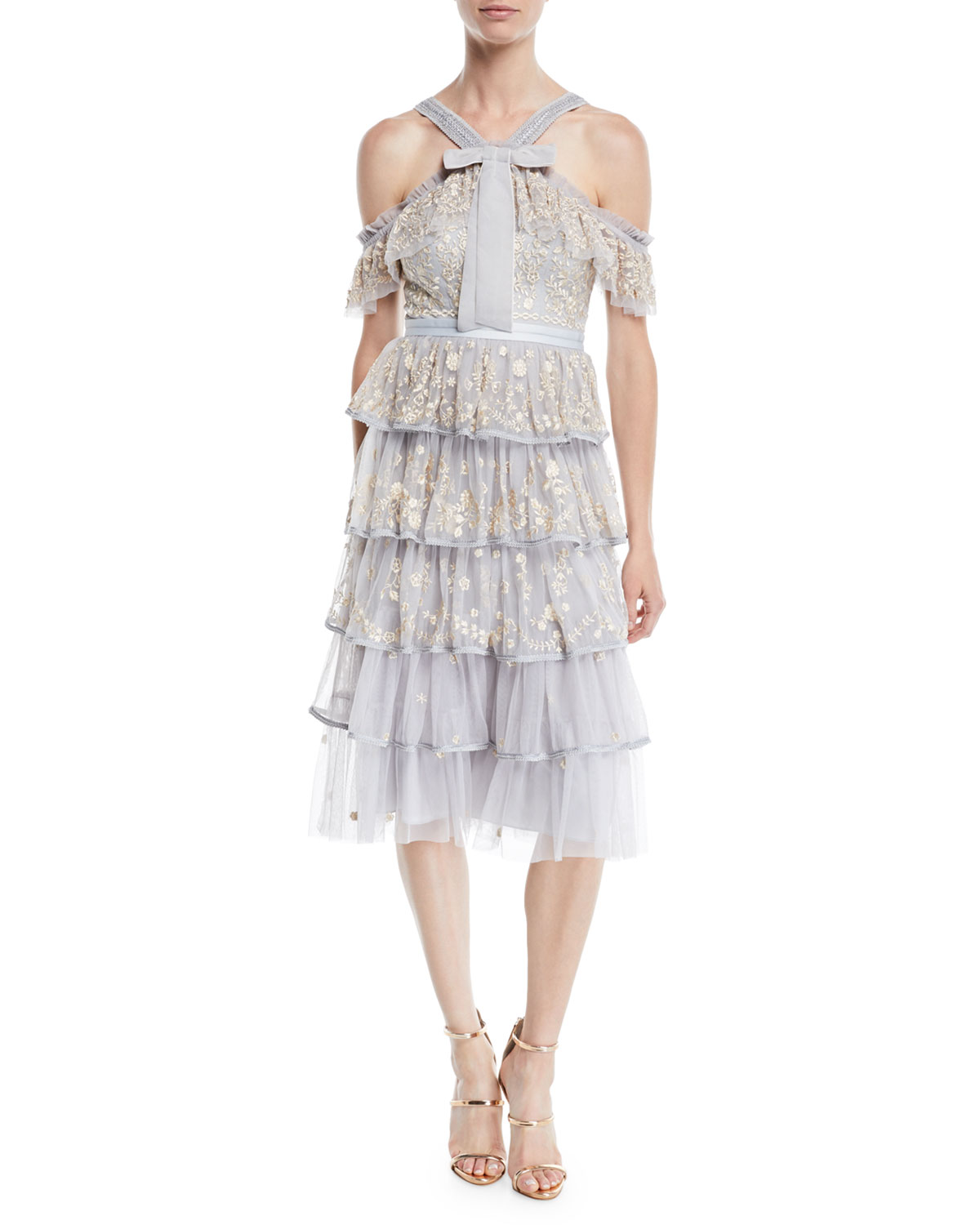 Needle Amp Thread Zelda Embroidered Tulle Midi Dress