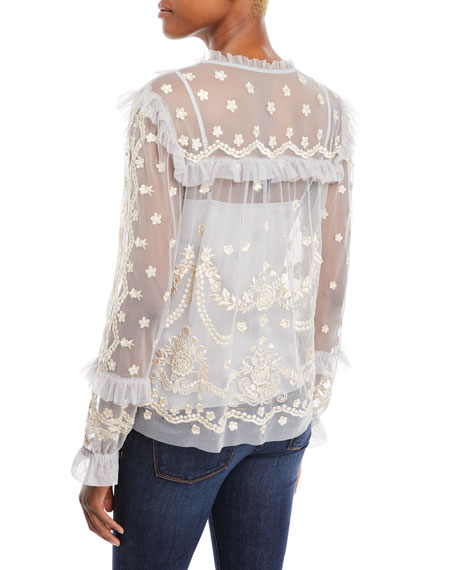 Flapper Long-Sleeve Embroidered Ruffle Top