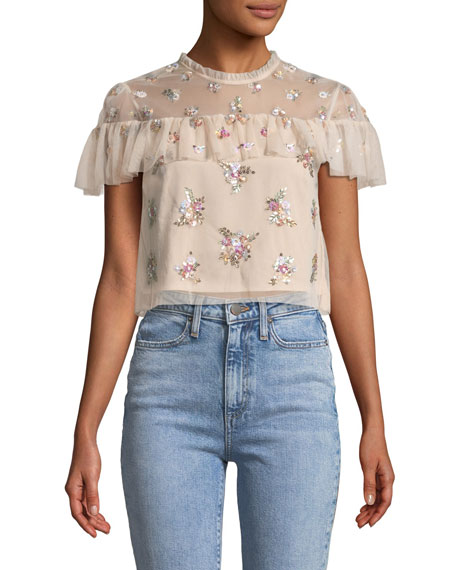 Lustre Floral Embellished Ruffle Crop Top in Light Pink