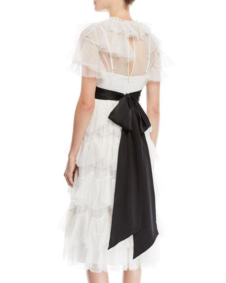Belted Scallop Tiered Ruffle Midi Dress