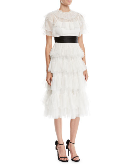 Belted Scallop Tiered Ruffle Midi Dress