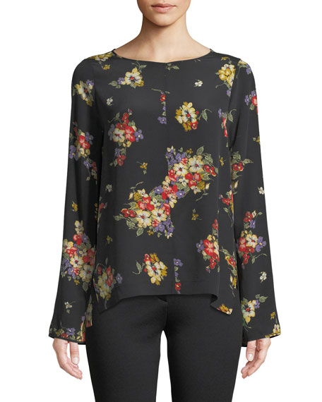 Scented Garden Long-Sleeve Crepe de Chine Top