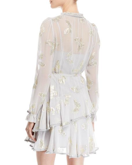 Lurex® Butterfly Ruffle Wrap Mini Dress
