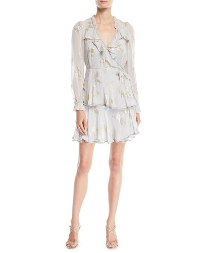 Lurex® Butterfly Ruffle Wrap Mini Dress