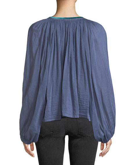 Shirred Button-Front Voile Top