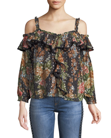 Paradise Rose Cold-Shoulder Ruffle Top