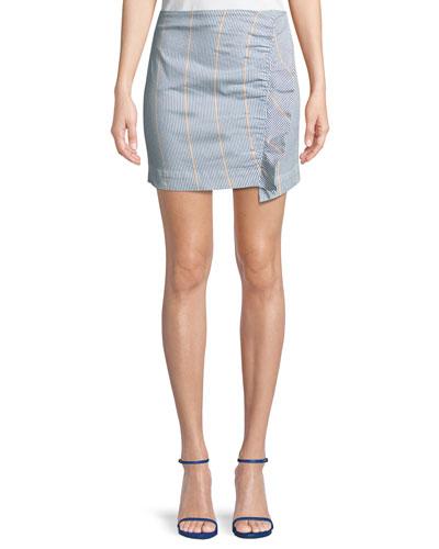 Jane Striped Ruffle Mini Skirt