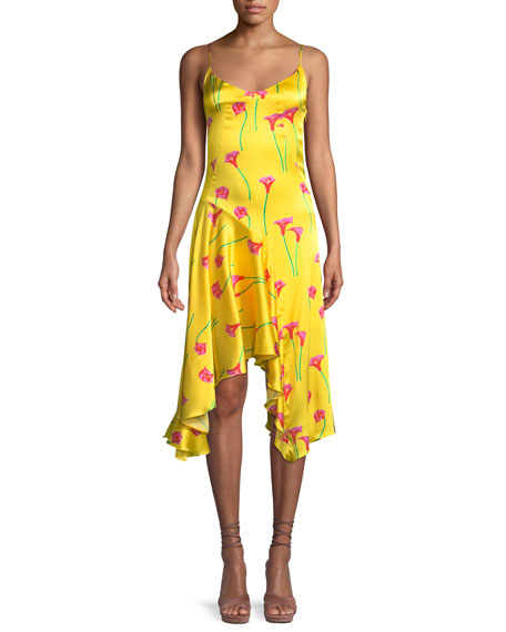 Marie Floral-Print Asymmetric Slip Dress