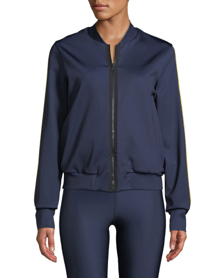 Silk Collegiate Side-Stripe Bomber Jacket