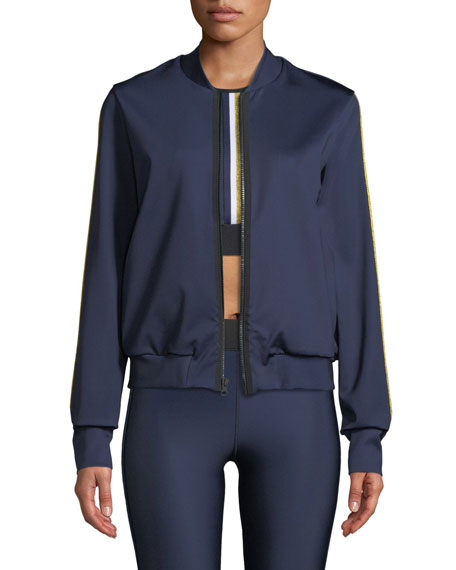 Ultracor Silk Collegiate Side-Stripe Bomber Jacket
