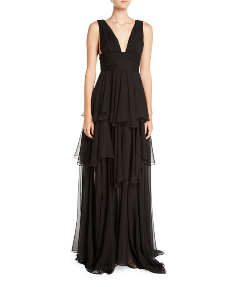 Caroline Constas Paros Tiered Ruffle Maxi Dress