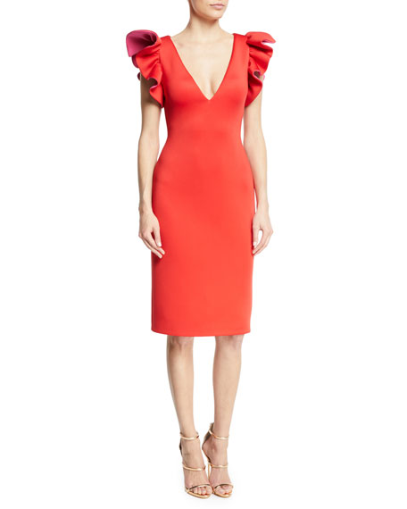Jovani Ruffle-Shoulder Sheath Cocktail Dress