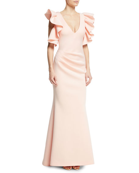Marshmallow V-Neck Ruffle Gown