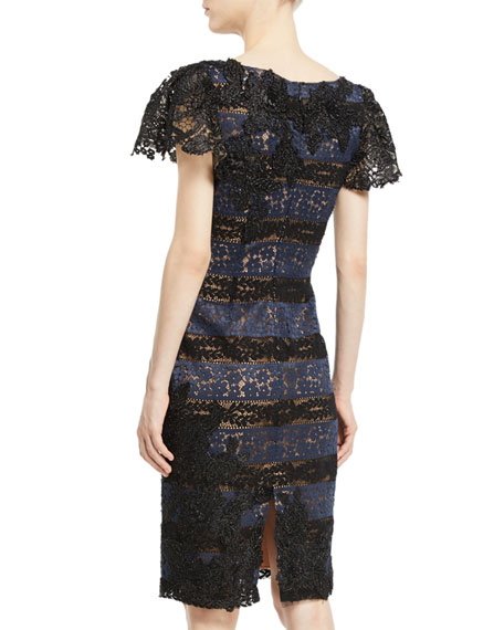 Lace Short-Sleeve Sheath Dress